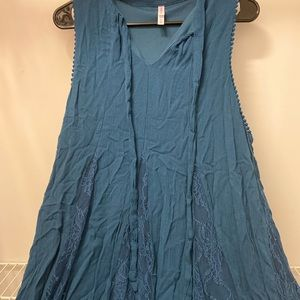 Old Navy teal lace swing dress